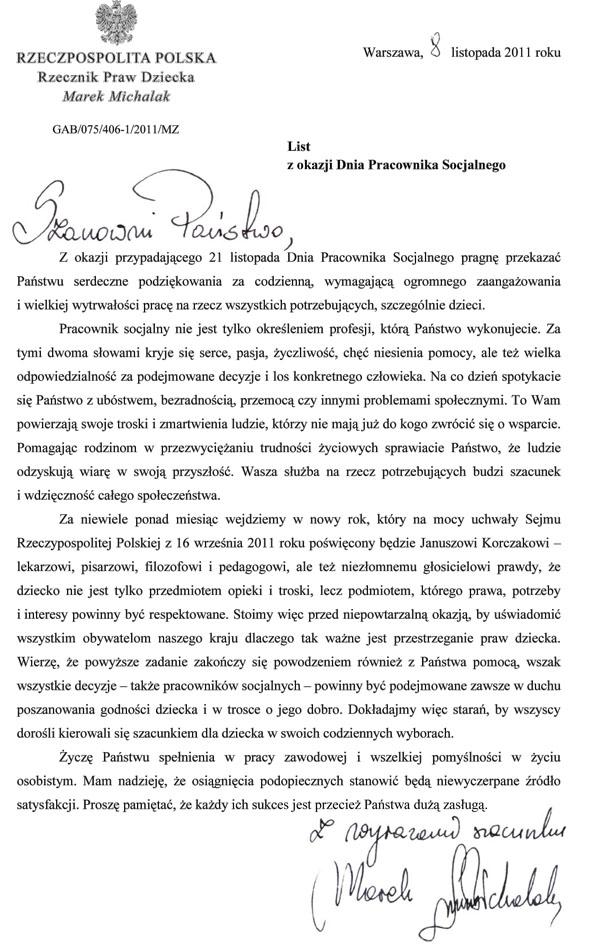 List Rzecznika Praw Dziecka dla Pracowników Socjalnych