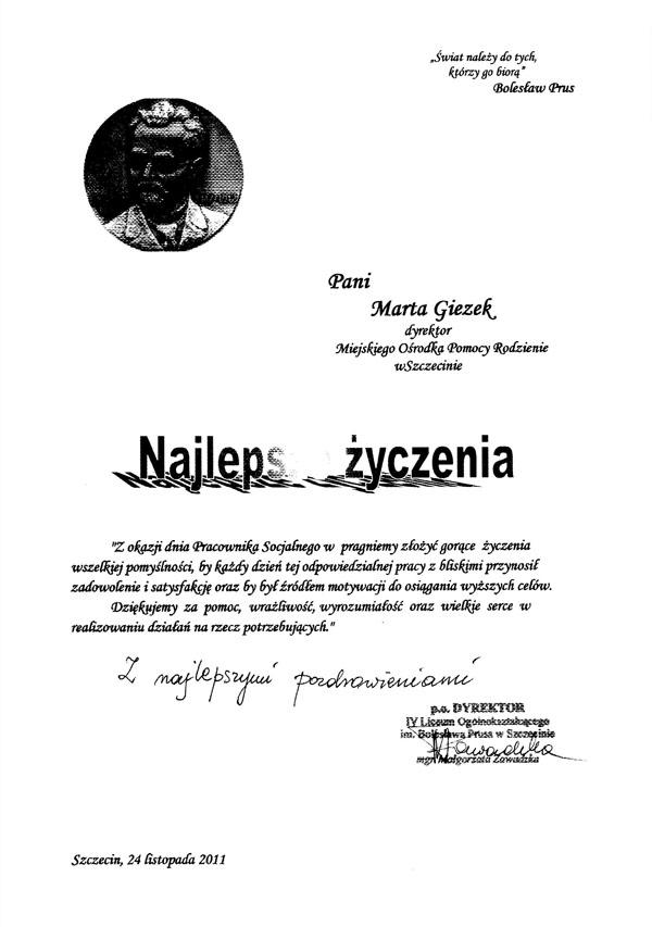 Życzenia z okazji dnia pracownika socjalnego od IV L.O. w Szczecinie